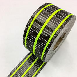 Carbon Uni Tape Fluro Lime Stripe 200g/m2 65mm