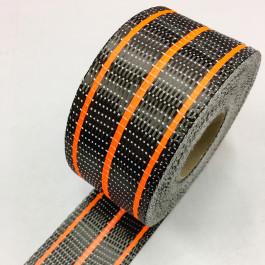 Carbon Uni Tape Fluro Orange Stripe 200g/m2 65mm