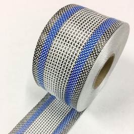 Carbon / Eglass Hybrid Tape Blue Band 168g/m2 75mm  **On Sale**