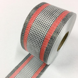 Carbon / Eglass Hybrid Tape Red Band 168g/m2 75mm  **On Sale**
